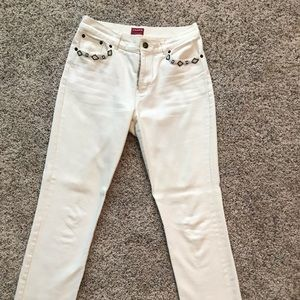 Chaos off white jeans with bead detail